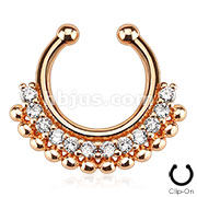 Paved Gem Fan Rose Gold IP 316L Surgical Steel Septum Hanger