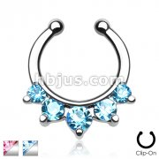 Five Paved Gem Non-Piercing Fake Septum Hanger
