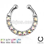 Ten Paved Gem Single Line Non-Piercing Fake Septum Hanger