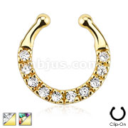 Ten Paved Gem Single Line Gold IP Non-Piercing Fake Septum Hanger