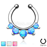 Five Paved Opalite Gems Non-Piercing Septum Hanger