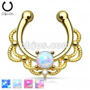 Non Piercing Gold IP Single Opal Septum Hanger