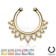Single Line with Multi Gems Non-Piercing Septum Hanger