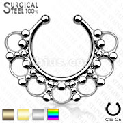 All 316L Surgical Steel Fake Septum Hanger Beaded Tribal Fan