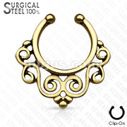 All 316L Surgical Steel Fake Septum Hanger Swirling Floral Fan