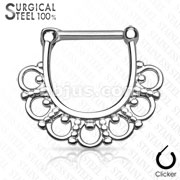 Tribal Fan Filigree All 316L Surgical Steel Septum Clickers