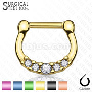 Titanium Anodized 100% Surgical Steelwith Five Crystal Set Septum Clickers