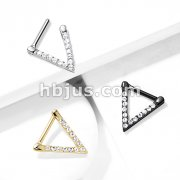 All Surgical Steel CZ Paved Triangle Clicker for Septum, Ear Cartilage and More