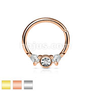 316L Surgical Steel Bendable Septum/Cartilage Hoop Ring with Prong Set CZs