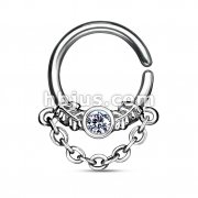 CZ Centered Leaf with Chain Dangle 316L Surgical Steel Bendable Septum/Cartilage Hoop Ring