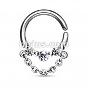 3 CZ with Chain Dangle 316L Surgical Steel Bendable Septum/Cartilage Hoop Ring