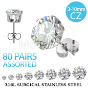 80 Pairs of 316L Surgical Stainless Steel Stud Earring with Assorted Size Round Clear CZ (10pairs x 8 gem sizes)