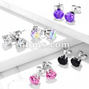Pair of 316L Surgical Stainless Steel Stud Earring with Round Clear or Black CZ