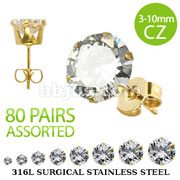 80 Pairs of Gold Plated 316L Surgical Stainless Steel Stud Earring with Assorted Size Round Clear CZ (10pairs x 8 gem sizes)