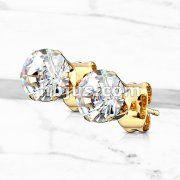 Pair of Gold IP 316L Surgical Stainless Steel Stud Earring with Round Clear CZ