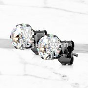 Pair of Black IP Plated 316L Surgical Stainless Steel Stud Earring with Round Clear CZ