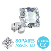 316L Surgical Stainless Steel Stud Earring with Princess Cut Square Clear CZ 80 Pairs Pack (10pairs x 8 sizes, 3mm~10mm)