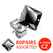 316L Surgical Stainless Steel Stud Earring with Princess Cut Square Black CZ 80 pairs Pack (10pairs x 8 sizes, 3mm~10mm)