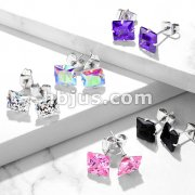 Pair of 316L Surgical Stainless Steel Stud Earring with Princess Cut Square CZ