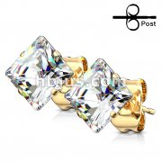 60 Pairs PVD Gold Over 316L Stainless Steel Ear Stud Ring with Mixed Size Square CZ Bulk Pack (10 pairs x 6 Sizes)