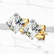 Pair of Gold Plated 316L Surgical Stainless Steel Stud Earring with Princess Cut Square Clear CZ