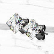 Pair of 316L Black IP Plated Surgical Stainless Steel Stud Earring with Princess Cut Clear CZ
