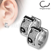 Pair of 316L Stainless Steel Ear Rings with Square Leopard Sand Sparkle