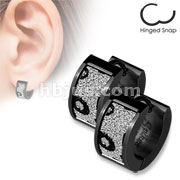 Pair of Black IP over 316L Stainless Steel Ear Rings with Square Black Leopard Sand Sparkle