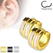 Pair of 316L Stainless Steel Center Double Shell Inlay Hoop Earring
