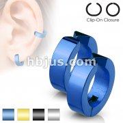 Color IP Hoops Pair of 316L Surgical Stainless Steel Non-Piercing Ear Cuff Clip On Earrings