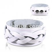 White Leather Bracelet with Layered Thick Weaved Strips