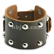 Brown Leather Wide Multi-Dome Studs Bracelet with Adjustable Buckle