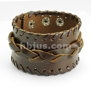 Brown Leather Wide Weaved Bracelet with Adjustable Snap Closure