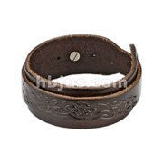 Brown Leather Bracelet with Buckle Wrap Tribal Design