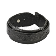 Black Leather Bracelet with Buckle Wrap Tribal Design