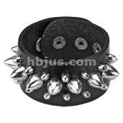 Black Leather Multi Cone Studs Bracelet with Adjustable Snap Closure