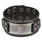 Black Leather Bracelet with Royal Shield Buckle with Studs