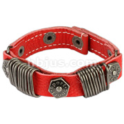 Red Leather Bracelet with Multi Stapler Rings with Hexa Bolts