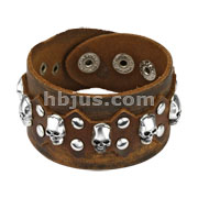 Brown Leather Bracelet with Multi Skulls and Round Studs with Spike Center Design