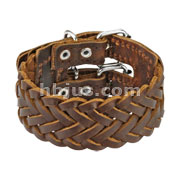 Brown Leather Triple Weaved Bracelet with Adjustable Buckle End Closure