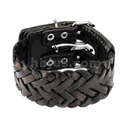 Black Leather Triple Weaved Bracelet with Adjustable Buckle End Closure