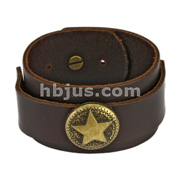 Brown Leather Bracelet with Antique Star Charm Center Strap