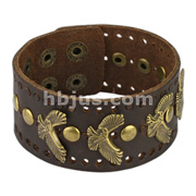 Brown Leather Bracelet with Flying Eagle and Round studs