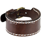 Brown Leather Bracelet with Stitched Border with Adjustable Buckle End Closure