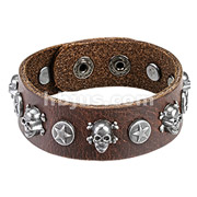 Brown Leather Bracelet with Steel Skull and Star Coin Studs