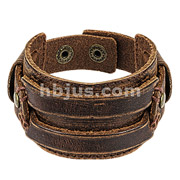 Brown Leather Bracelet with Stitched Rectangle Belt