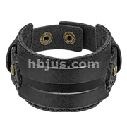Black Leather Bracelet with Stitched Rectangle Belt