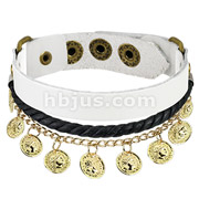 White Leather Braided Bracelet with Coin Charms