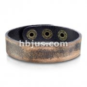Black Leather Bracelet with Burnt Brown Borders