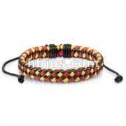 Triple Colored Diagonal Checker Weaved Leather Bracelet with Drawstrings
